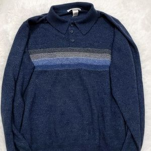 Geoffrey Beene Button Up Collared Sweater Size L